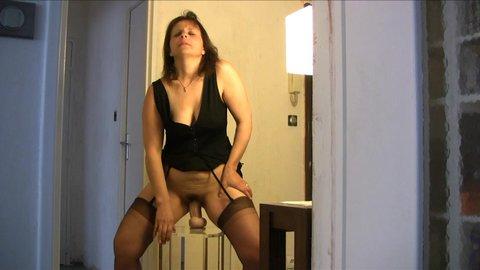 Hot brunette milf in lingerie riding dildo as hubby films