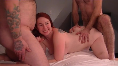 Sexy redhead pumped full of cum by hubby and buddy