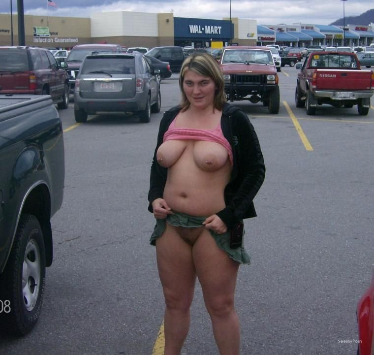 Wife nude at car